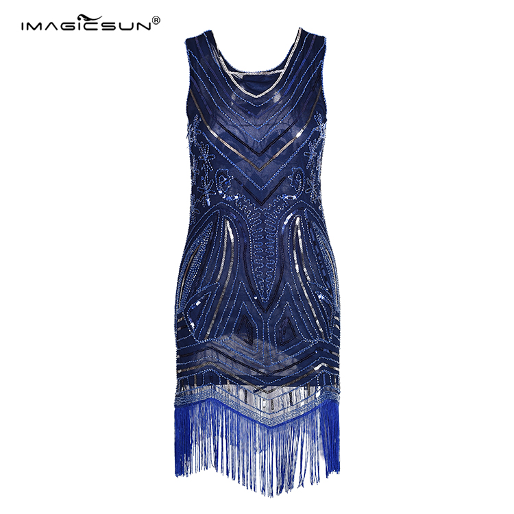 Personalized modern young women navy blue fringe sequin party dress bandage ladies fashion dresses