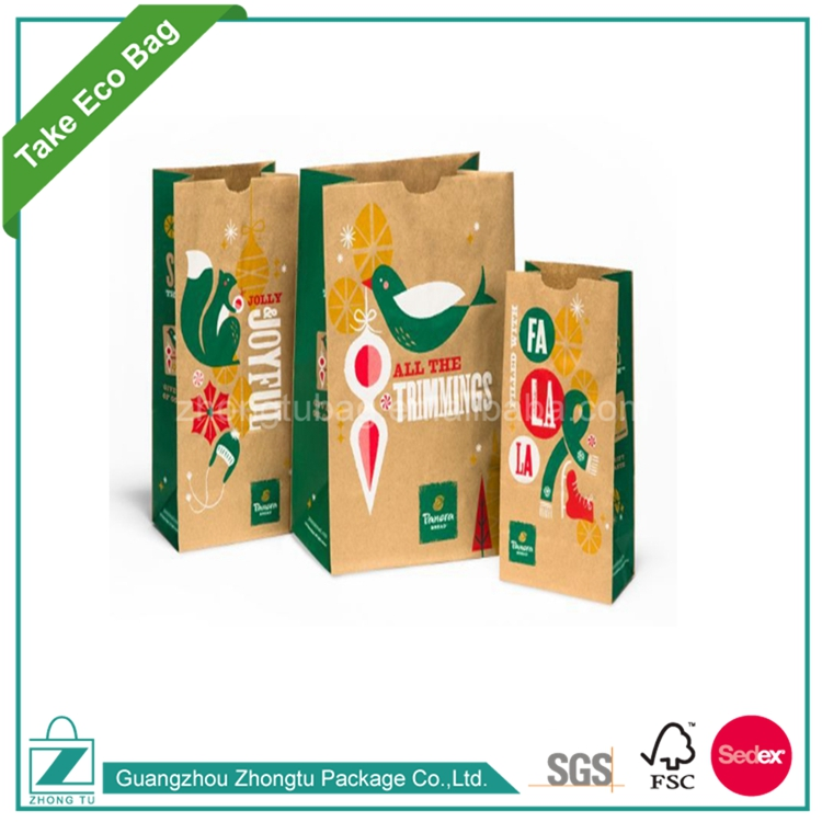Gravure Printing Surface Handling and Food Industrial Use High Quality Bread Packaging Paper Bags