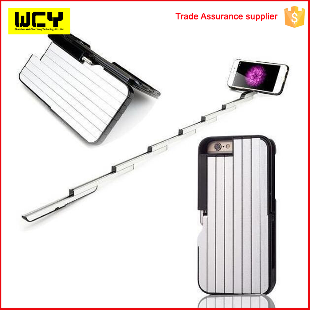 Trending Product Selfie Stick Case with Bluethooth remote Durable Mobile Phone Case Cover for iphone 6 6s plus