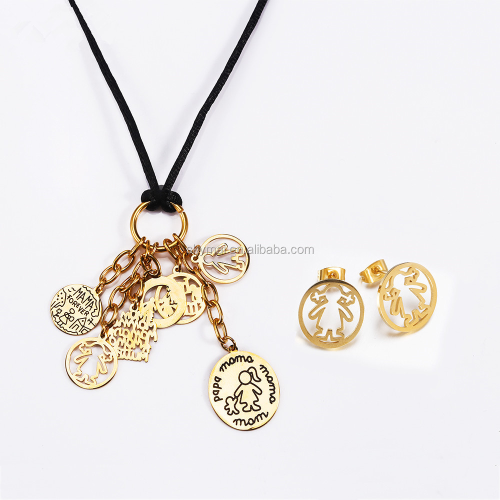 Stainless Steel Necklace Earrings Jewelry Set Gold & Silver Plated Spanish Famous Boys Girls Charms Jewelry Set Love Jewelry