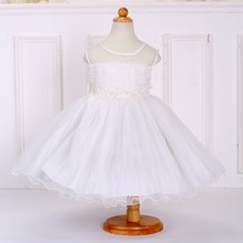 Bulk wholesale kids clothing birthday children girl flower white puffy dresses for girls L-118