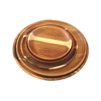 round acacia wood plate, serving platter & tray set wholesale