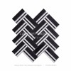 White Black Marble Herringbone Mosaic Hotel Decorative Tile