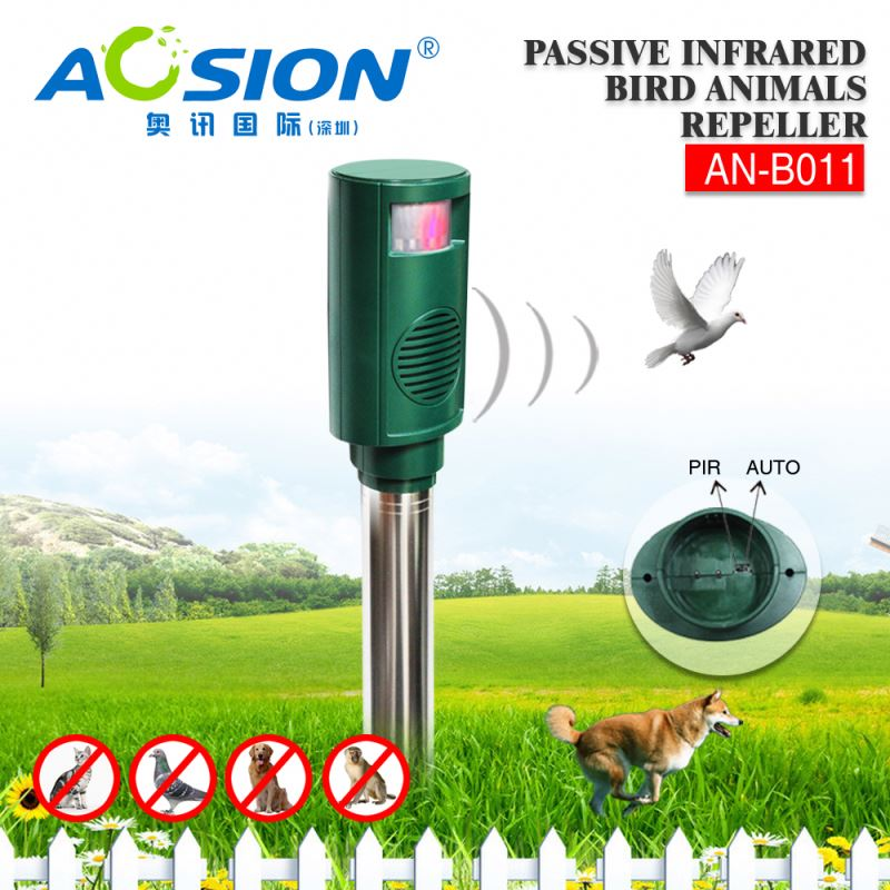 Aosion Automatically PIR Detection Sonic Wave Repel Animal sounds wave battery electronic bird repeller