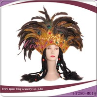 big peacock feather carnival headdress