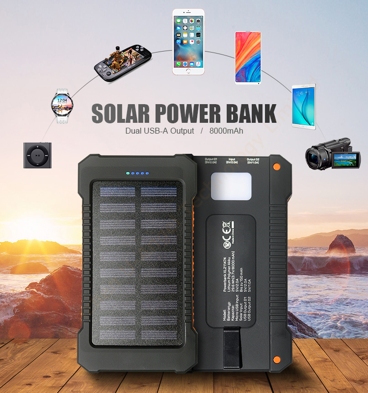 2018 new hot battery portable waterproof solar power bank mobile phone charger 8000mAh