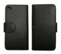 Book flip in elegant black leather case for iPhone 6, iPhone 5 and iPhone 4 and for Samsung S5 and Note 3