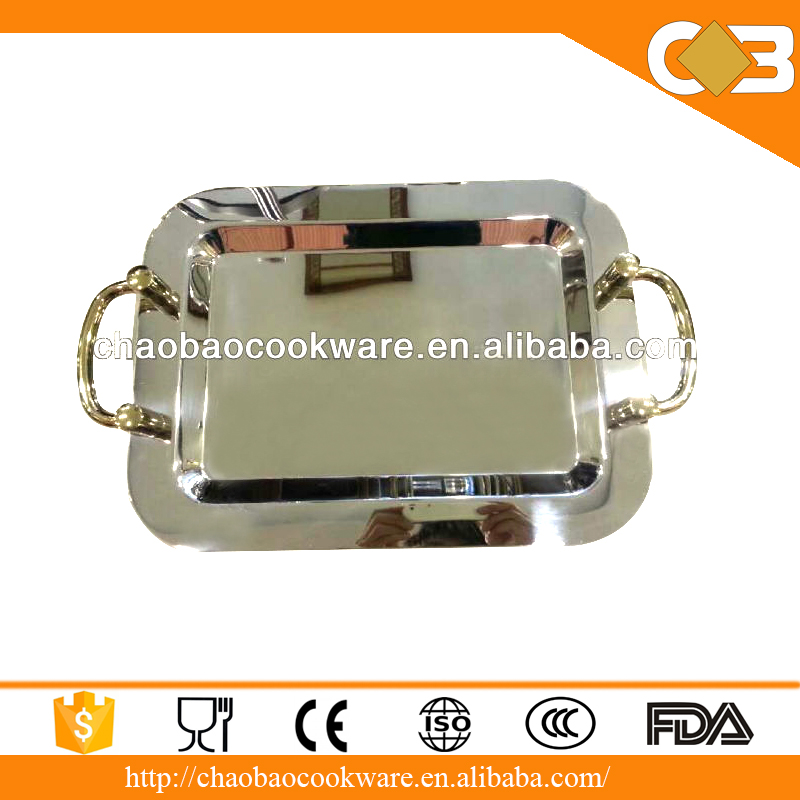 Wholesale Metal Material Rectangle Silver Plated Serving Trays