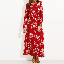 Flower Print Chiffon Shirt 2017 wholesale india long sleeve maxi dress women long dress