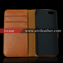 genuine cow leather smart phone case for iphone5, for iphone5 leather case with stand