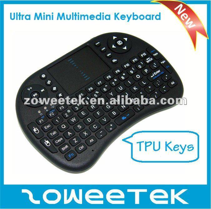 Metal dome Ultra Mini 2.4GHz Wireless Multimedia keyboard for Smart TV, STB,TV BOX.