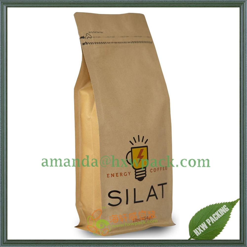 100% eco-friendly material 2017 recyclable kraft paper coffee tea bag with valve
