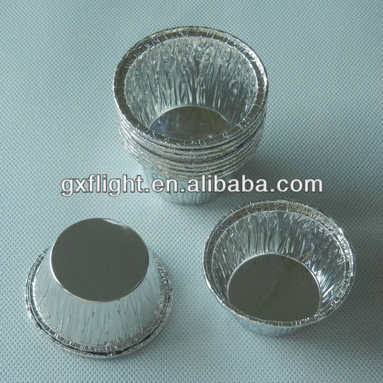Round silver disposable aluminium foil muffin cup