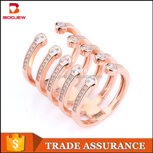 New design 925 sterling silver mirco setting open adjustable lady finger ring with rose gold plating