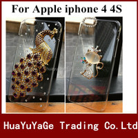 Free shipping phone cases 3D DIY cover Luxury Crystal Clear Diamond Bling Case for Apple iphone 4 4S
