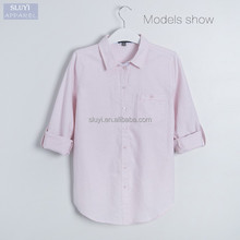 latest fashion ladies blouse casual pink color button-up Polyester cotton polo blouse designs for office