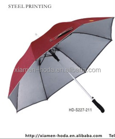 reflective windproof straight umbrella, silver coating sun protect, custom printing