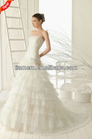 2013 corset two-piece organza wedding gown with trains XK-0511