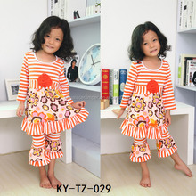 fall kids clothes cute baby floral print orange stripe skirt and ruffle pants icing legging outfits