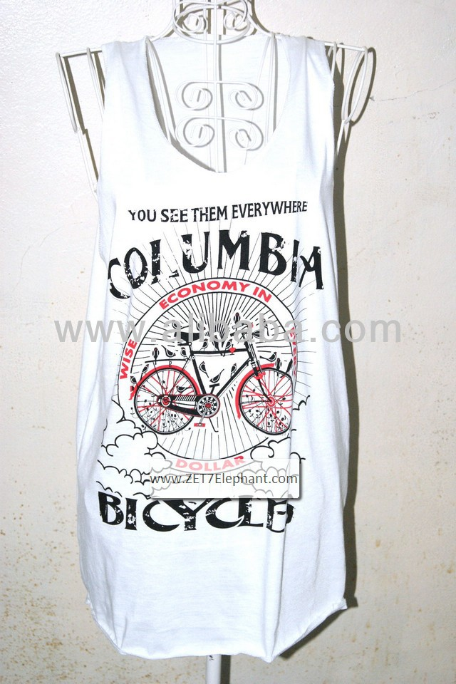 Columbia Bicycle Design Style T-shirt Vest Tank Top Comfort for Men and Women Size L White Color