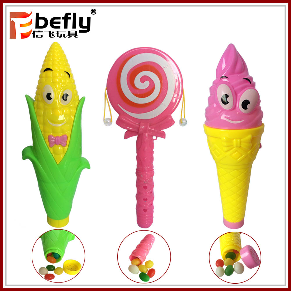 Ice cream shape foam click ball toy with candy inside