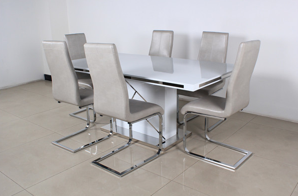 wooden white dining table with metal strip alibaba express