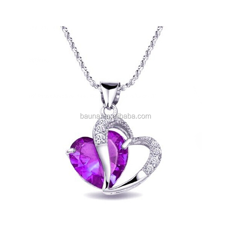 Silver purple heart crystal necklace