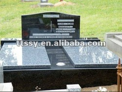 Etching black granite cemetery monuments double