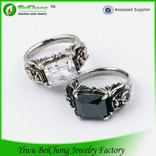 Gothic style big Gem stainless steel king and queen ring jewelry