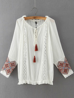 Blouses Tops fashion women christmas latest design White Tie-neck Embroidered Loose Blouse