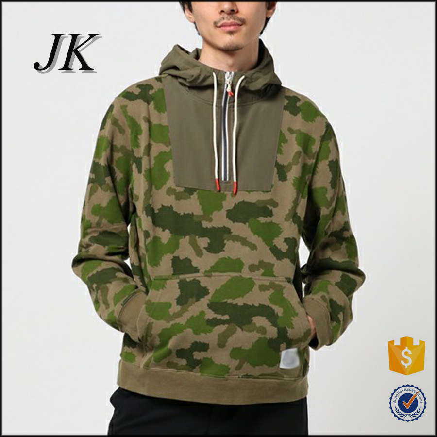 custome latest mens half zip printed camo pull over two tone hoodies