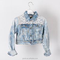 2017 ladies jacket & coat denim washed jackets with lace outer layer high quality with OEM service