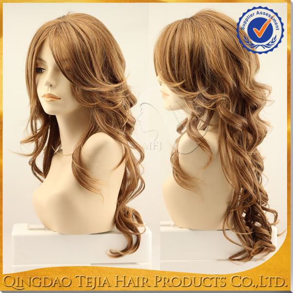 China supplier long loose curly synthetic japanese fiber wig