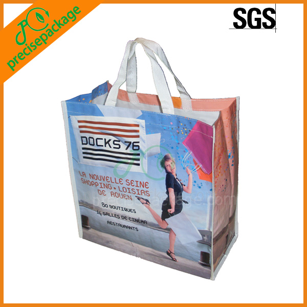 Recycle pp woven laminate tote bag with full printing