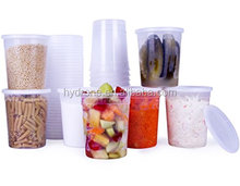 Food Storage Containers with Lids, Round Plastic Deli Cups, 16 oz, Pint Size, Leak Proof, Airtight, Microwave & Dishwas
