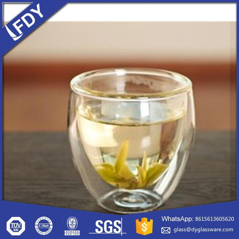 Accept Customized Different Capacity Double Glass Cup With Acrylic