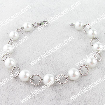 China supplier fashion stainless steel bracelet pearl joyas de