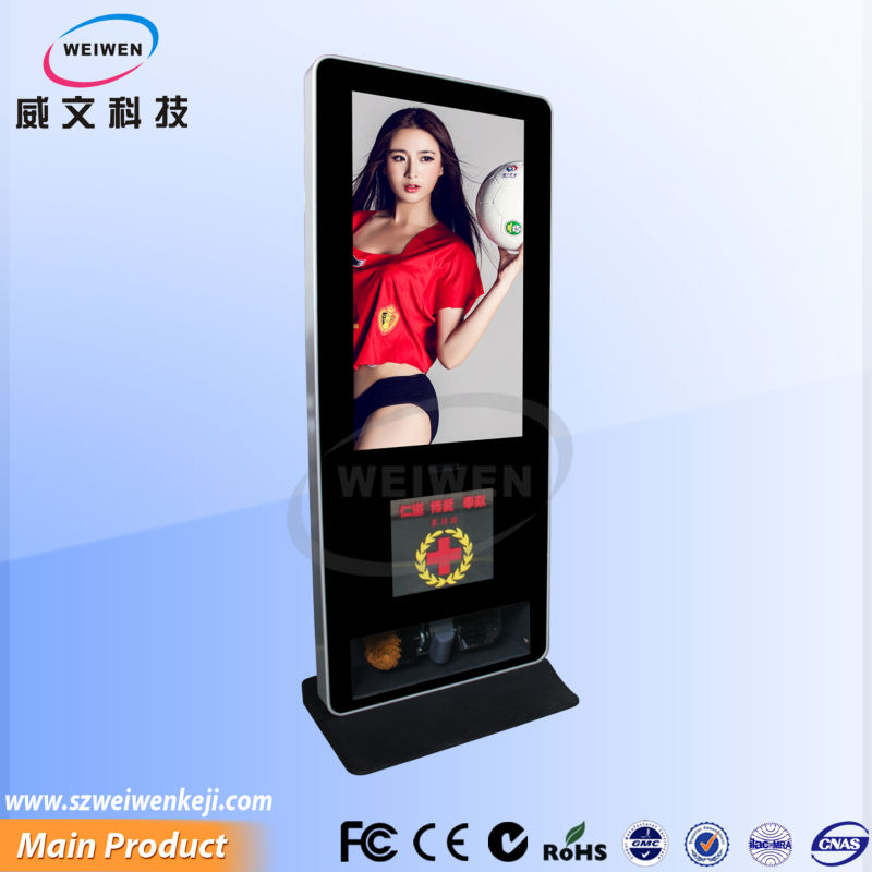 42 inch floor-stand led wifi network advertising shoe shine machine
