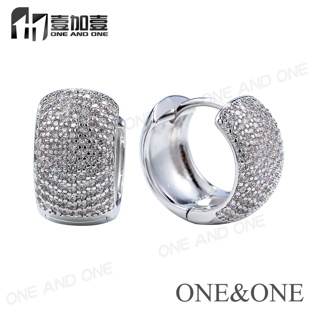 New Design White Gold Plated AAA Quality Mirco Pave Small Hoop Earrings