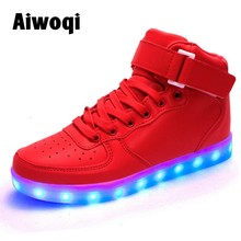 2016 Fashion red led light casual shoes for children kid and adult high top led shoes