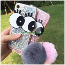 Wholesale Bling Glitter Sequins Big Eyes Fur Ball Tassels Silicone Tpu Phone Case For iPhone 7 plus
