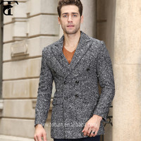 European Style of Men's Wool Blend Coat Slim Fit Double Breasted Middle Long Fashion Winter mens wool overcoat