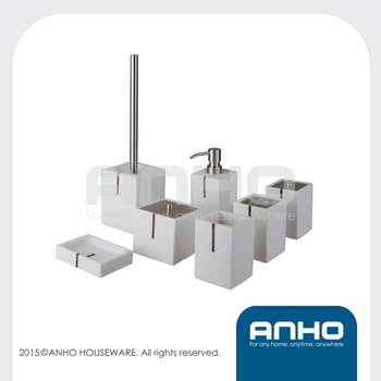 Anho 7pcs hotel polyresin white bathroom accessories square