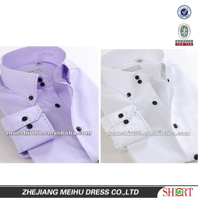 Men Light Purple Button-down Collar Classic Fit Long Sleeve Dress ...