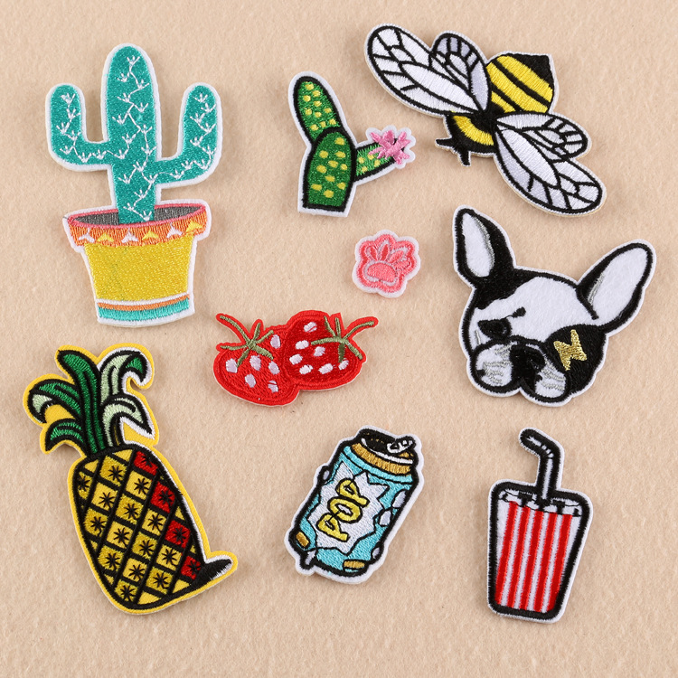 Iron On Food Patches For Clothing Embroidery Patch Appliques Badge Stickers Custom Cheap Embroidered Cute Patches Applique