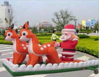 christmas decoration outdoor inflatable santa in sleigh for sale