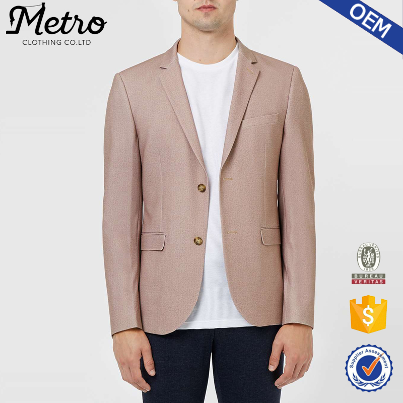 OEM Latest Design Stretch Jersey Pink Blazer Mens 2016 Style