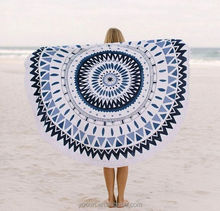 Hot sale 100% cotton velour reactive printed round mandala beach towel