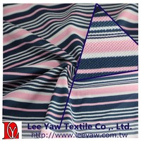 94% polyester full dull 6% spandex Yarn Dyed auto stripe pique fabric with anti-bacterial, UV-cut and wicking for garment