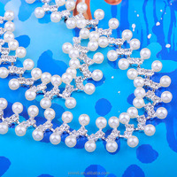 2016 Wholesale rhinestone chain Polished White Pearl Bridal Accessories, Crystal Diamond Roll